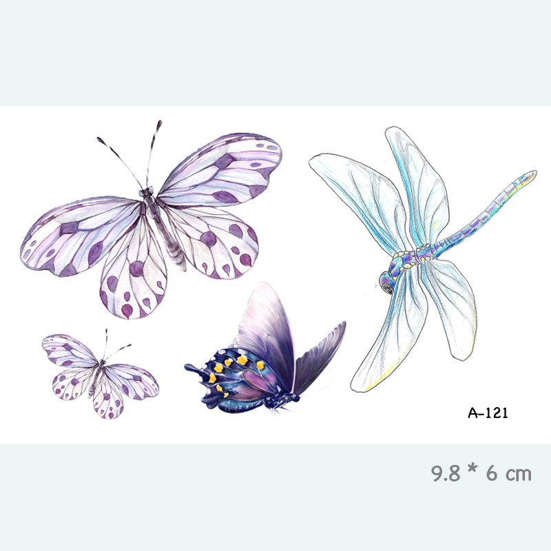 Wyuen Butterfly Dragonfly Vanntett Midlertidig tatoveringsmerke for voksne barn Body Art Fake Tatoo for Women Men Tattoo A-121