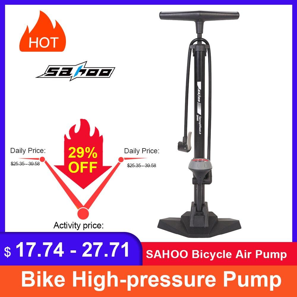 SAHOO אופניים אוויר משאבת צמיג Inflator עם למעלה ברומטר רצפת סוג רכיבה אופניים בלחץ גבוה משאבת INFLATOR רכיבה על אופניים אבזרים