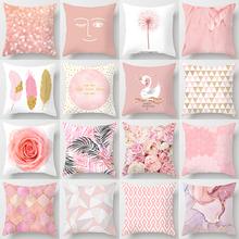 Pink Glitter Throw Pillow Case Mable Feather Rose Swan Cushion Covers for Home Sofa Chair Decorative Pillowcases tanie tanio CN (pochodzenie) PRINTED Zwykły Tkane Poliester Peachskin Domu 100tc Dekoracyjne poszewki na poduszki Drukuj Ekologiczne