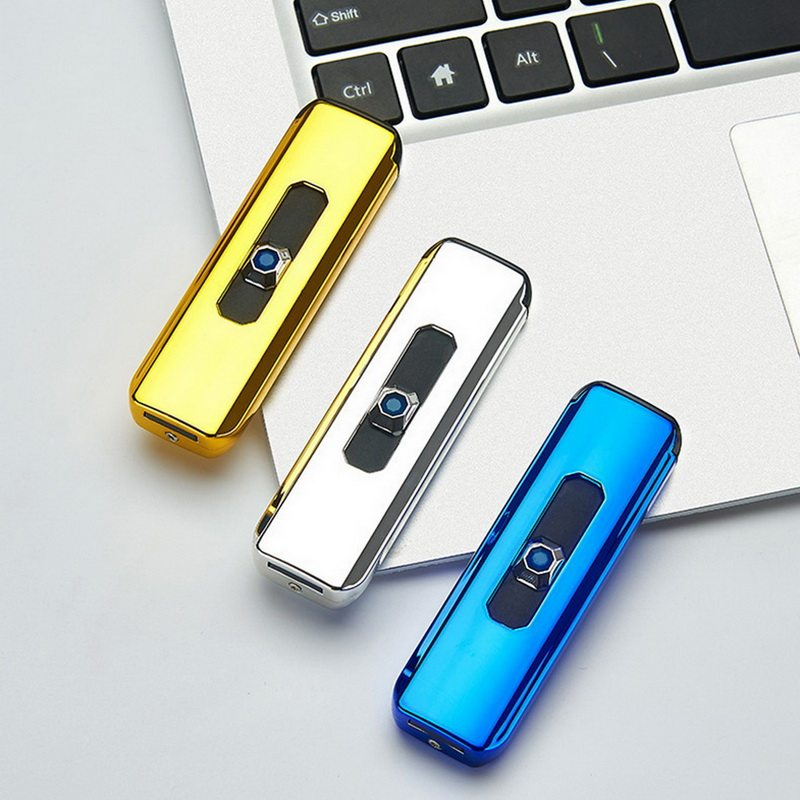 New Mini Electroplating Electric Lighter Small Double Side Cigarette Lighter USB Recharging Windproof Flameless Portable Lighter