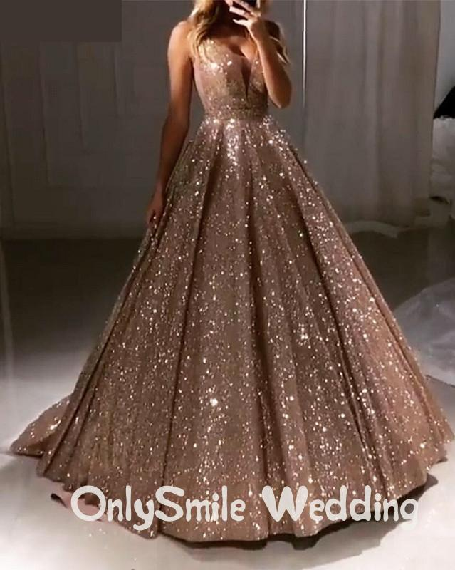 Shiny Luxury Prom Dresses 2019 Long Deep V-Neck Backless Sparkle Sequin Tulle Ball Gown Sexy Evening Party Gowns Robe De Soiree
