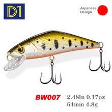 D1 D-CONTACT wobbler japanminnow pesca isca afundando para a pesca 64mm 4.8g acessórios de pesca para pesca de truta bw007
