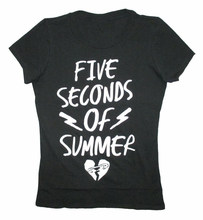 5 Seconds Of Summer Bolts Heart Logo Girls Juniors Black Shirt New 5SOS Harajuku John Wick(China)