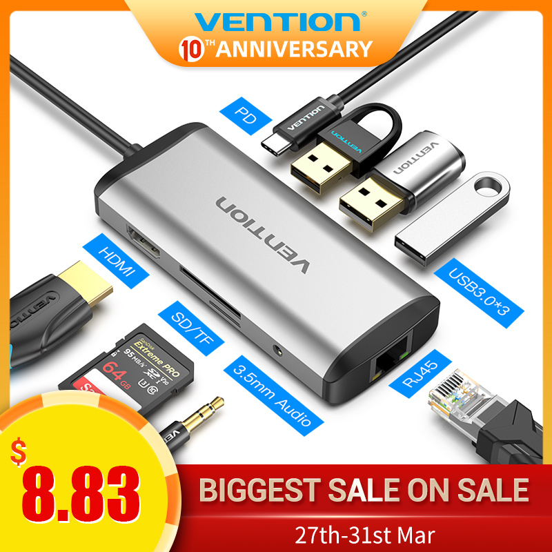 Vention USB C HUB Type-C To 4K HDMI RJ45 VGA USB 3.0 HUB Dock For MacBook Pro Huawei Mate 30 USB-C 3.1 Splitter Port USB-C HUB
