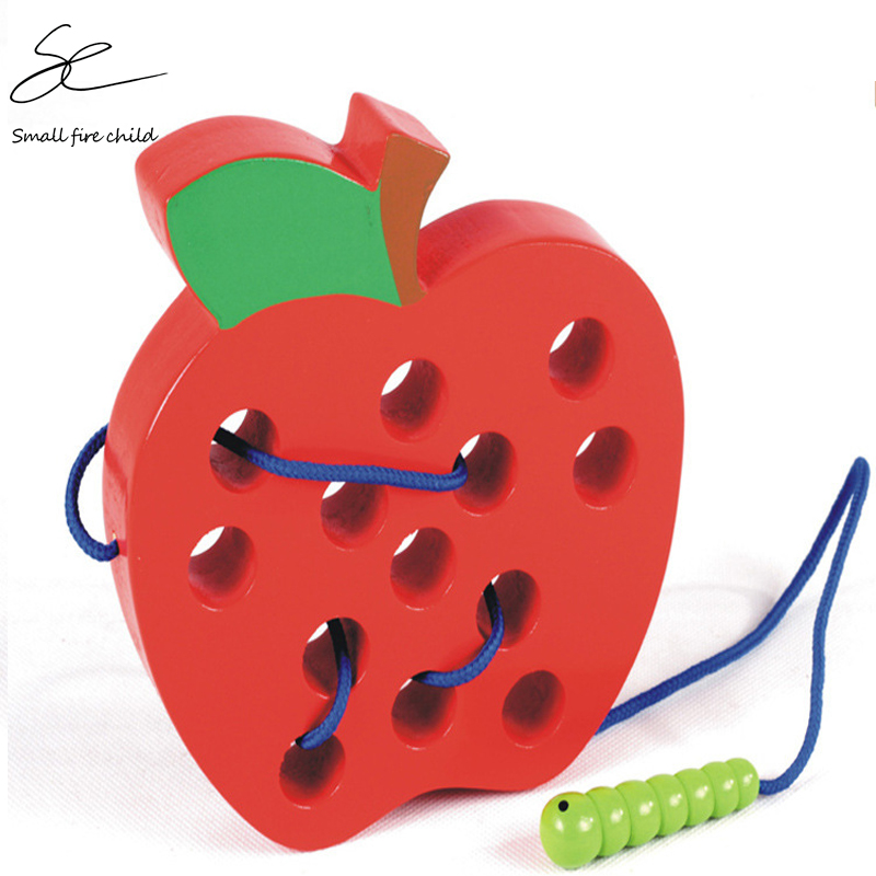 Montessori Educational Toys Fun Wooden Toy Worm Eat Fruit Apple Early Learning Teaching Aid Toys For Children Gift