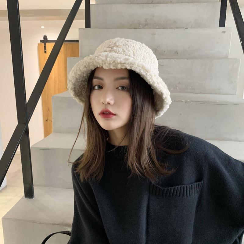 2019 Winter Hat Women,  Korean Version  Fisherman Hats ,lamb Wool Furry Hat ,Fashion Instagram  Girls Winter Hats