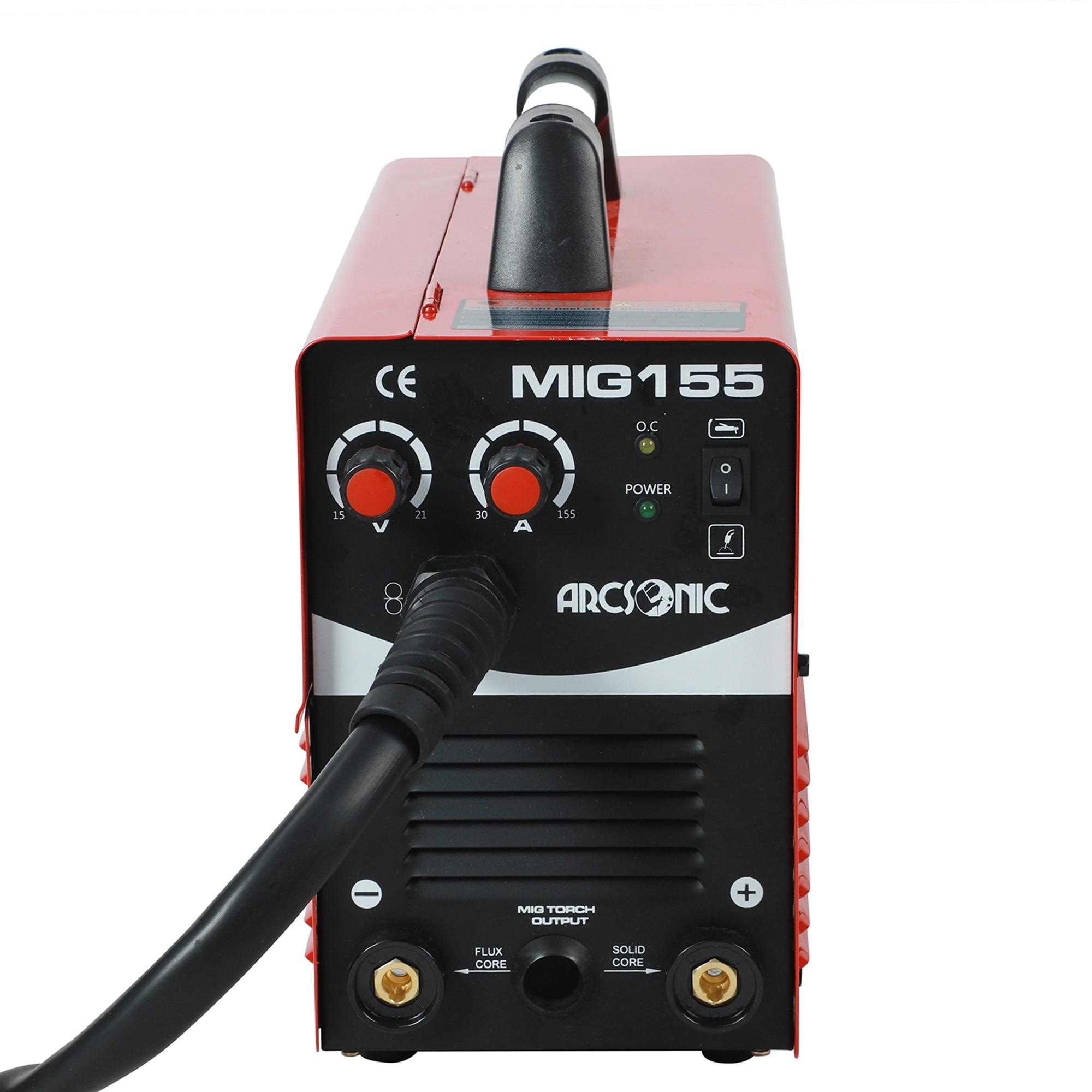 MIG155 IGBT Gas/Kein Gas Mig Schweißer 220V Flux Core Draht Stahl Schweißen Maschine Tragbare DC 2 in 1 Mig Schweißen MMA Schweißer