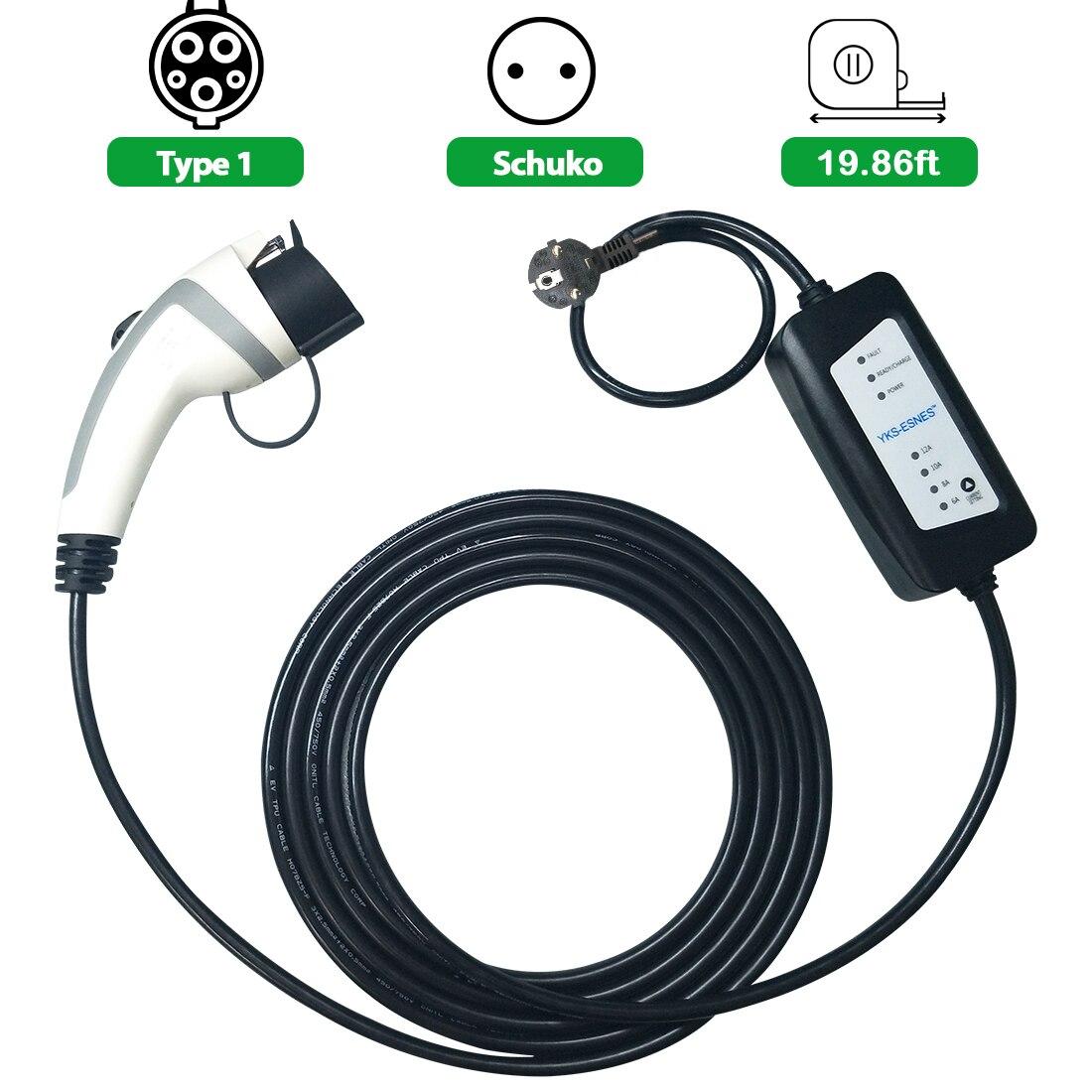 YKS-ESNES  Portable EV Charger SAE J1772  16A  EU Standard Plug  5M  Evse Type 1
