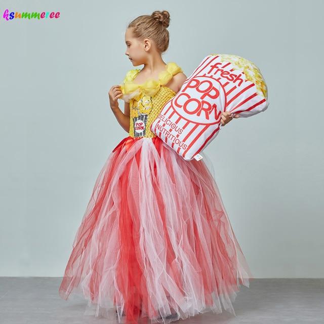 Adorable Popcorn Inspired Girls Tutu Dress Red & White Tulle Children Birthdays Halloween Dress Up Costume Kids Flower Ball Gown