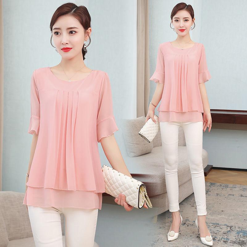 2021 Summer obesity Mid-length Chiffon Blouse Plus Size 5XL Women Short sleeve Beautiful Self-cultivati Shirt blouse Show thin 2