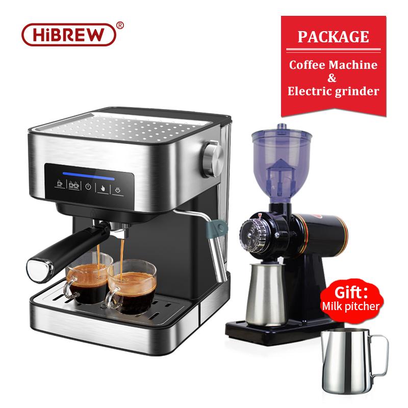 HiBREW 19 bar espresso coffee machine inox case semi automatic expresso maker,cafe  powder espresso maker, cappuccino