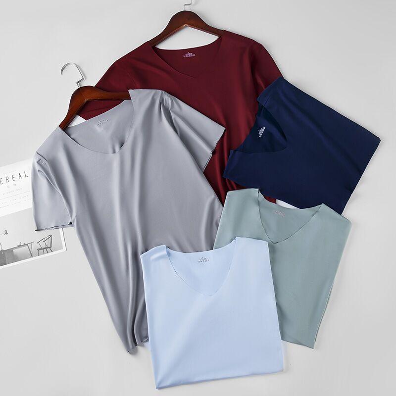 2020 Men Tshirt Ice Silk Fitness Gym Clothing Man Tops Tees T Shirt For Male Solid Color Tshirts Multi Colors T-Shirt