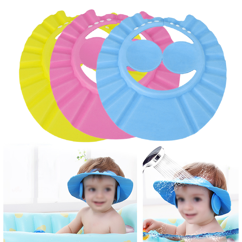 1pcs Shower Cap Adjustable Baby Toddler Health Bathing Hat Bath Visor Shower Cap Protect Eye Ears Hair Wash Shield Ear Random