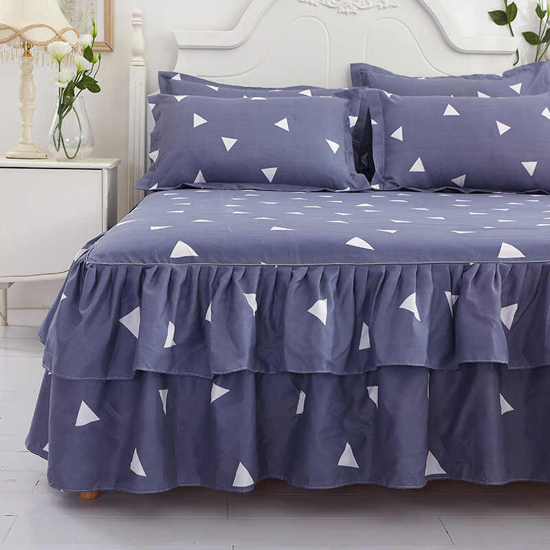 زهرة فلامنغو نمط البوليستر Ruffled المفارش تنورة نوم سرير ملكة يغطي ملاءات طقم سرير زينة عيد الميلاد