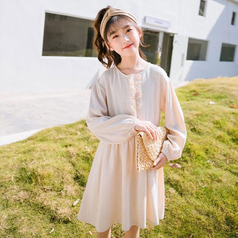 Vestido de lino y algodón para Niñas Ropa Infantil de manga larga fruncida, prendas de vestir para niños de 3 a 20 años, 2021, #5922