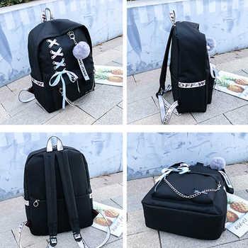 2019 Chain Canvas female book bag backpack 5pcs/set schoolbag school bag travel pack fashion Tassel women teenage teenagers girl