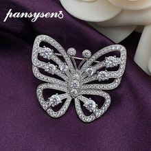 Brooches 925-Sterling-Silver Butterfly Fine-Jewelry Diamond Women PANSYSEN Moissanite