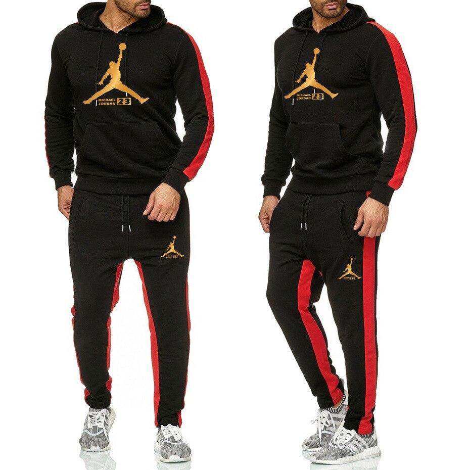 New Tracksuit Hoodie+Pants Sets Men Sportswear Fleece Hoodies Suits Jordan Letter Print Malechandal Hombre Spring Autumn Winter