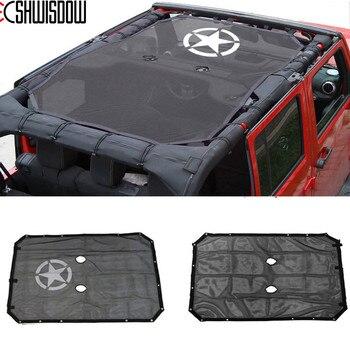 Durable Polyester Mesh Shade Top Cover Provides UV Sun Protection for Jeep Wrangler Accessories 2 Door / 4-Door JK JKU 2007-2018