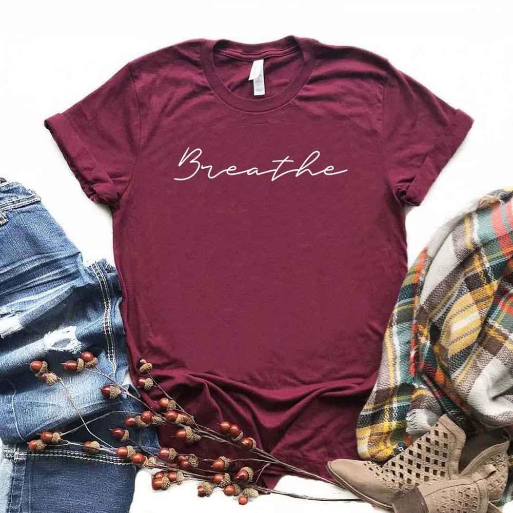 Breathe Yoga Print Women Tshirt Cotton Casual Funny T Shirt For Yong Lady Girl Top Tee 6 Colors Drop Ship NA-411