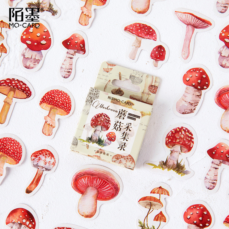 45sheets DIY Vintage Color Mushroom Stickers Cute Watercolor Hand Drawn Bullet Journal Sticker School Supplies Kawaii
