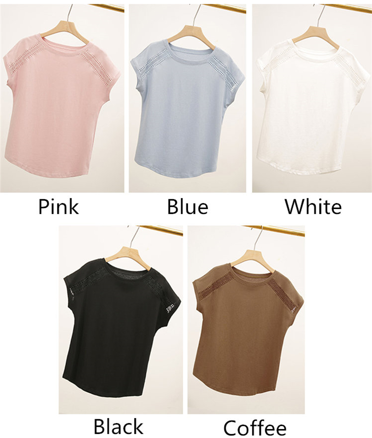 H277ed22c392c46149ea337df2baf2ba1N - Cotton Summer Blouses Lace Batwing Sleeve Shirts For Womens Tops Shirts Plus Size Women Clothing Korean Pink Blusas Female