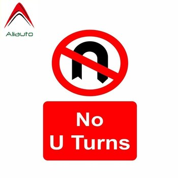 Aliauto Warning Car Sticker No U Turns Cover Scratch Accessories PVC Decal for Renault Megane 2 Suzuki Swift Tiguan,14cm*10cm image
