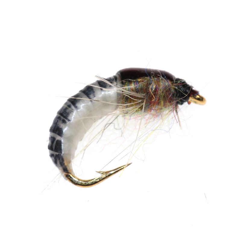 1PC nouveau #12 réaliste nymphe Scud mouche pour la pêche à la truite artificiel insecte appât leurre simulé Scud ver de pêche leurre