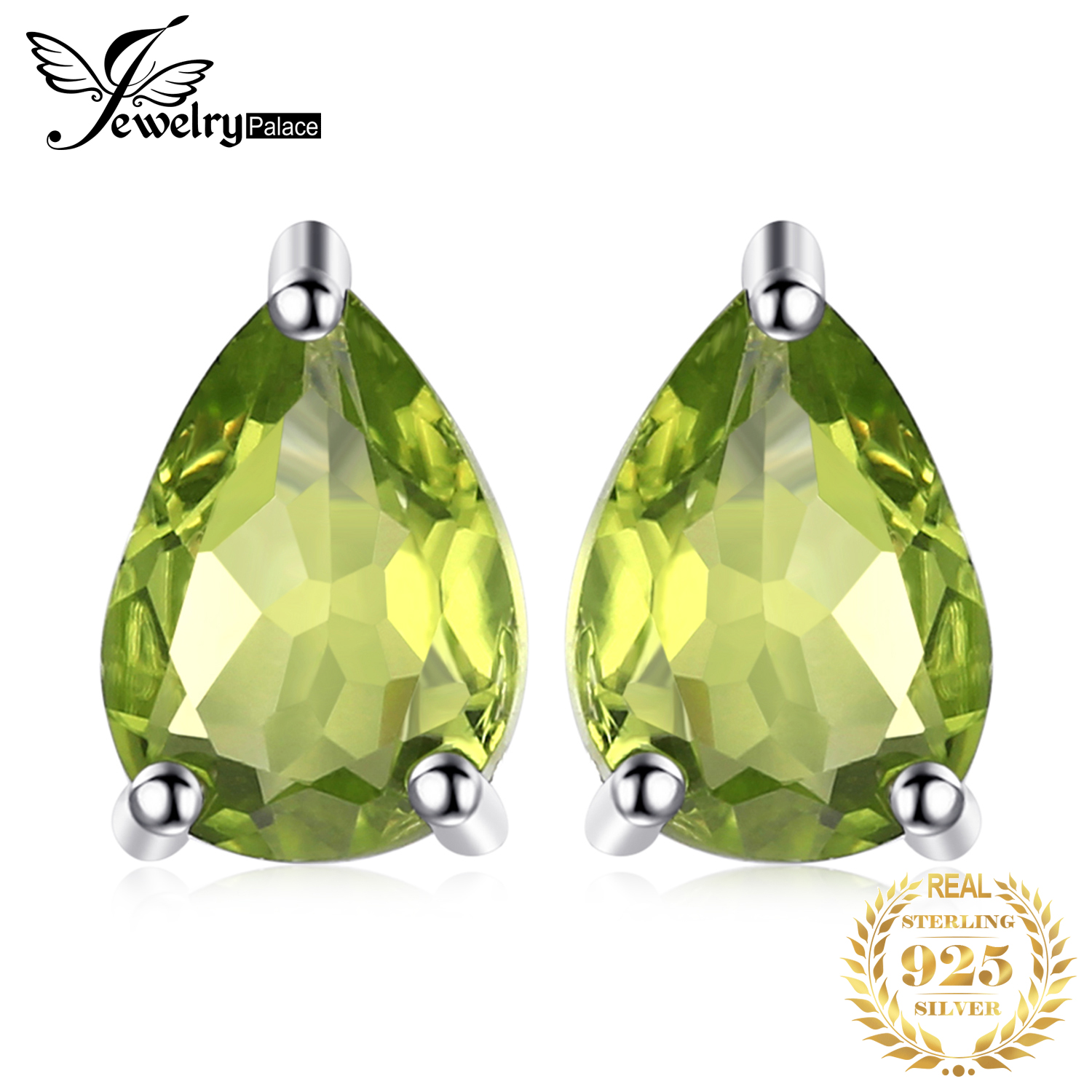 JewelryPalace Water Drop 1.6ct Natural Peridot Stud Earrings Real Pure 925 Sterling Silver Fashion Women Jewelry New Arrival