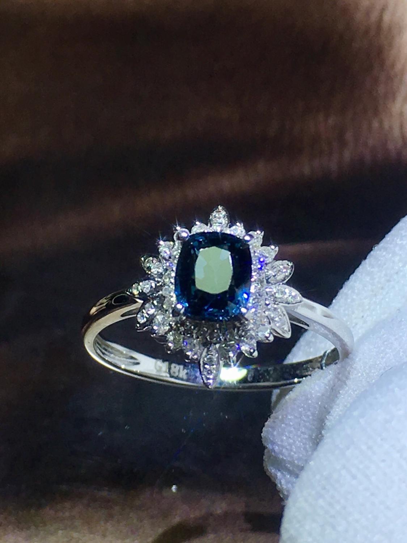 820 Fijne Sieraden Pure 18K White Gold Natuurlijke Blauw Spinel Edelstenen 0.98ct Diamonds Classic Ontwerp Vrouw Ringen voor presenteert - 4