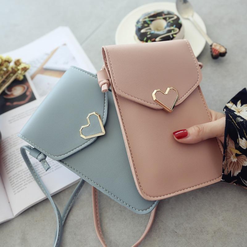 Women Heart-shaped Transparent Screen Mobile Phone Bag 2019 New Mini Messenger Bags Lady Handbag And Purses Small Phone Bag