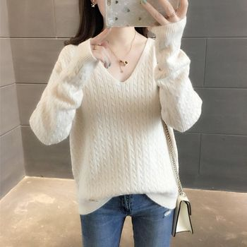 2020 Autumn Winter Women Sweater New Korean Style O Neck Knitted Loose Long Sleeve Solid Color Pullover Sweaters Women [eam] 2020 spring trendy new personality loose big size solid color half sleeve o neck jumpsuit women ya11601