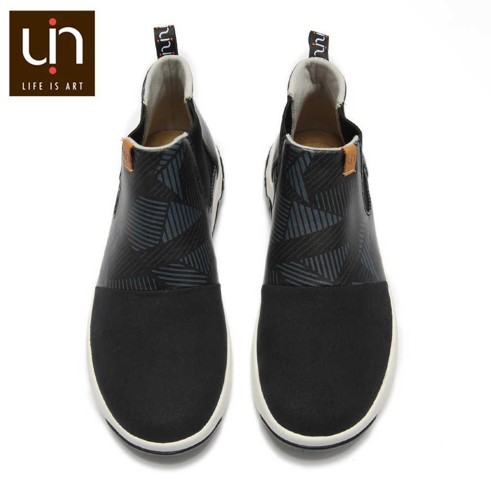 UIN Dr Ken Series สีดำข้อเท้ารองเท้าสำหรับสตรี/ผู้ชายสบายๆแบนรองเท้าหนังนิ่มไมโครไฟเบอร์/หนังกลางแจ้งรองเท้าฤดูใบไม้ร่วง/ฤดูหนาว