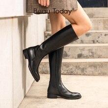 Stivali alti al ginocchio BeauToday donna vera pelle di mucca cerniera laterale punta tonda Lady inverno moda stivali lunghi fatti a mano 01214