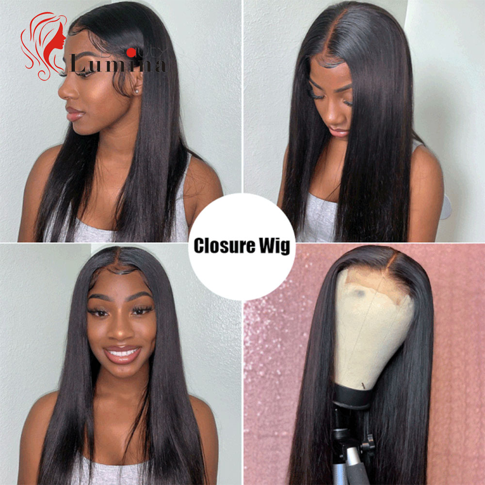 Brazilian Human Hair Straight Wigs 28 30 Inch Long Straight Human Hair Wigs Natural Hairline 4x4 Lace Closure Wig 180% Density