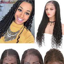 Braids Hair Wigs Lace Synthetic-Box Natural-Hairline Heat-Resistant Front Curly-Ends