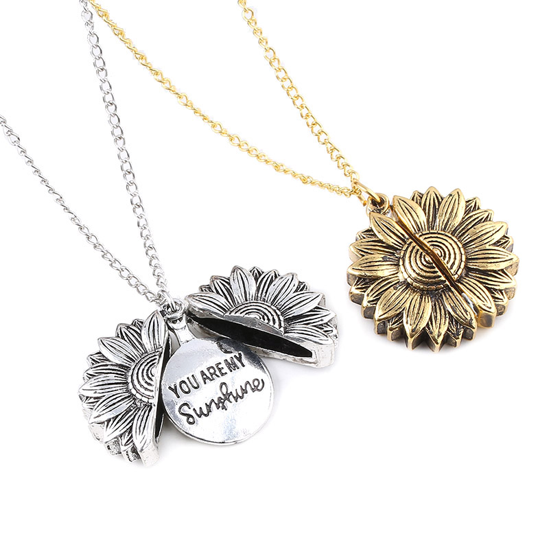 2019 Vintage Boho Sunflower Pendant Necklace You Are My Sunshine Women Ethnic Open Lover Necklaces Valentine's Day Gift