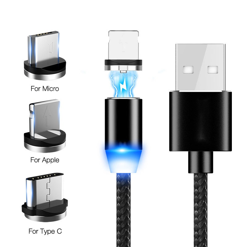 Magnetic USB Cable Fast Charging For Iphone TYPE-C Micro USB Android IOS Data Line For Xiaomi Redmi Samsung Cord Magnet Plug