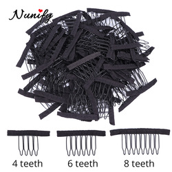 Nunify Wig Comb Clips 4 Teeth Hair Extension Clips Stainless Steel Wig Clips Combs Snap Clips With Rubber For Hair Extension
