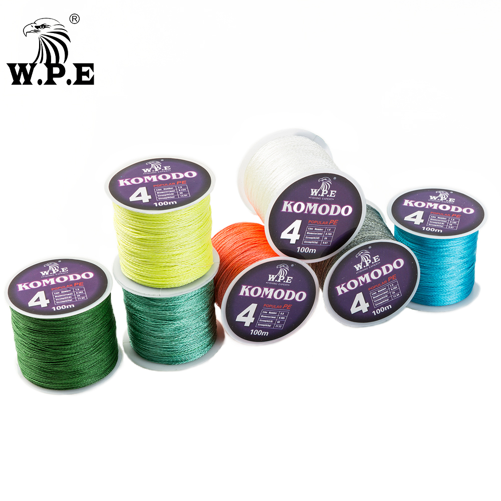 W.P.E KOMODO Series Braided Fishing Line 4 Strands 100M 150M 300M PE Braided Fishing Wire 0.6#-4.0# with A Free pcs of Swivel