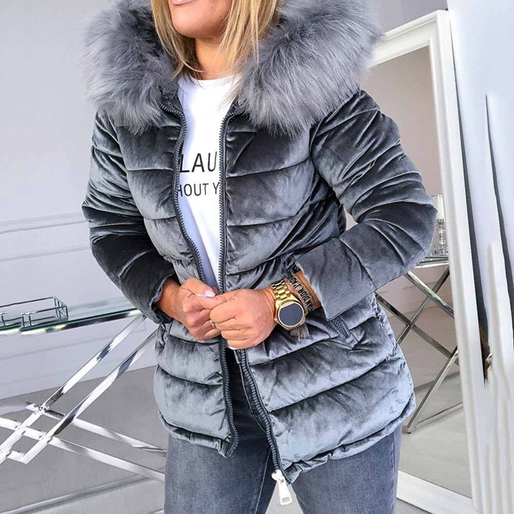 Women Cotton Padded Jackets Gray Pink Plus Size 4XL Hood Fur Collar Thick Fashion Basic Snow Outerwear Winter Velvet Jacket Coat
