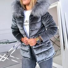 Women Cotton Padded Jackets Gray Pink Plus Size 4XL Hood Fur Collar Thick Fashio