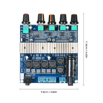 New DC12V~24V TPA3116D2 Subwoofer Digital Amplifier Board Stereo Audio Module with Volume Potentiometer 2*50W+100W