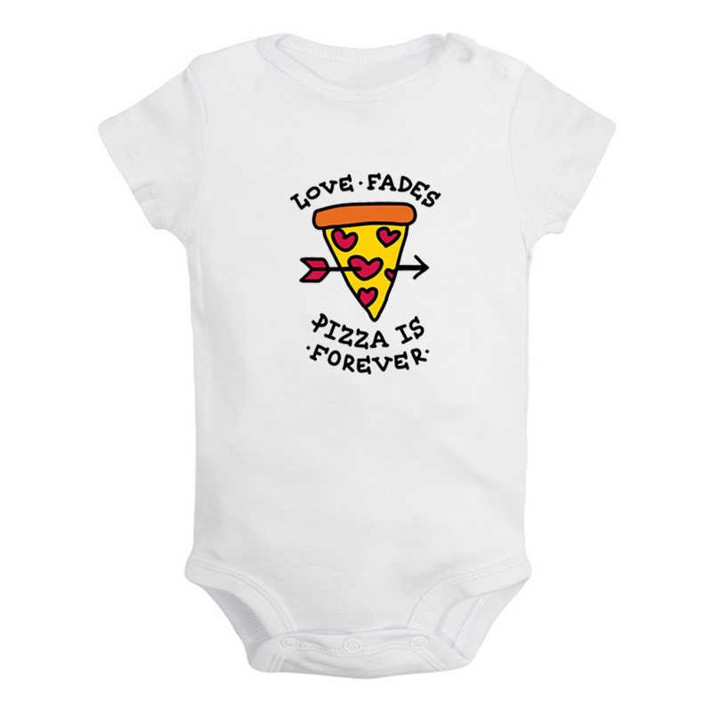 Love Fades Pizza Is Forever Winter Wolf Printed Newborn Baby Girl Boys Clothes Short Sleeve Romper Outfits 100% Cotton