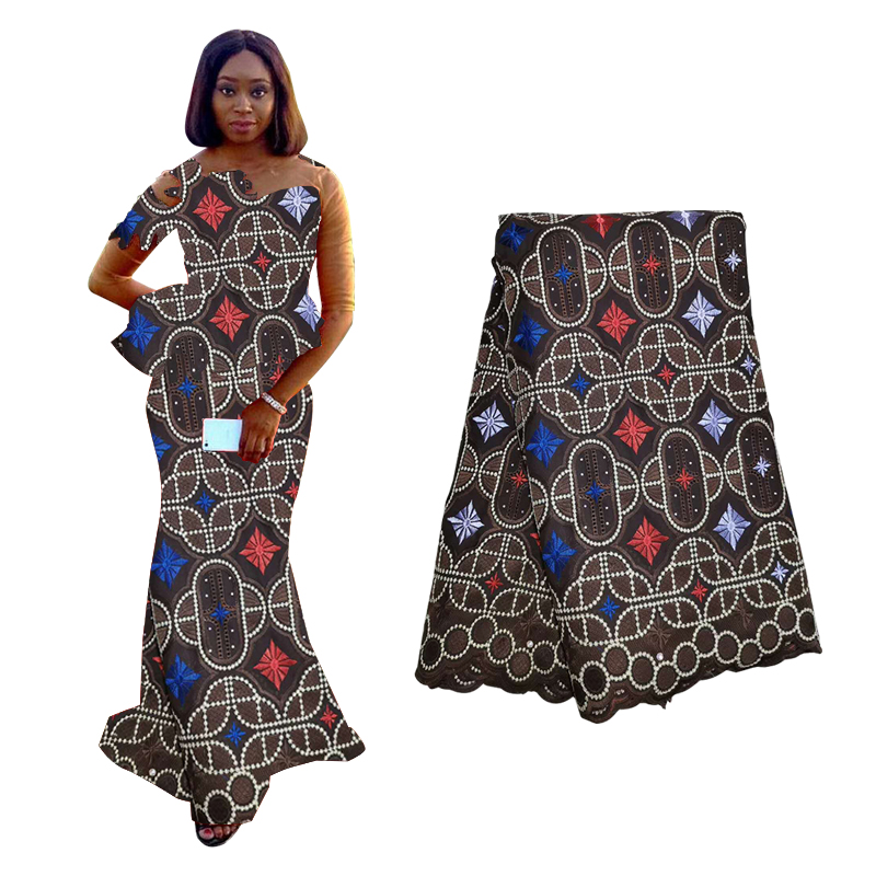Best Selling Cotton-Like Black African Voile Lace Fabric High Quality Nigerian Beads Dry Lace Fabric Beaded For Wedding Party