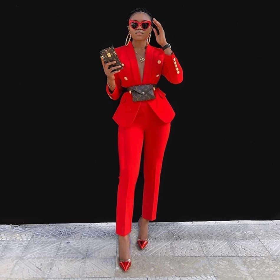 가을/겨울 신사복 바지 정장 핑크 버튼 v 넥 정장 재킷과 바지 2020 Office Clothes women's Suit women's Set