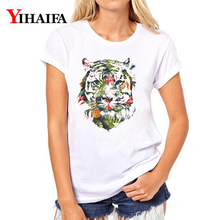 Floral Tiger 3D Print Women T-shirt Animal Graphic Tee Casual  Summer White T Shirts Hip Hop Short Sleeve Tops Camisas Mujer short sleeve floral graphic tee