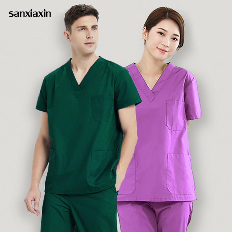 Hospital Doctor Nurse Tops Medical Surgical Uniform Operating Room Pharmacy Workwear Nursing Scrubs Clothes Medical Clothing New