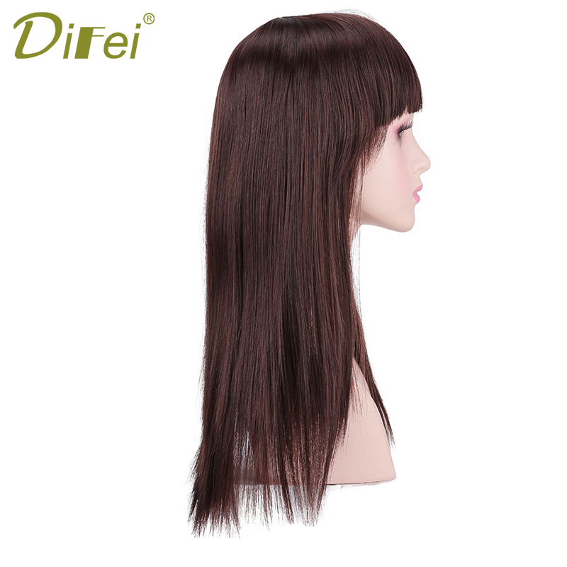 DIFEI Hair 24inches Women Long Straight Hair With Bangs Dark Brown Wigs For Black Women  Synthetic Wig