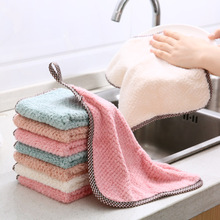 Hanging Coral Fleece Towel Handkerchief Kitchen Cleaning Towel Lint-Free Absorbent Rag Dish Cloth Cleaning Cloth coral velvet bathroom supplies soft hand towel absorbent cloth dishcloths hanging lint free cloth kitchen accessories